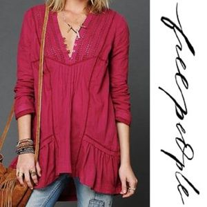 Free People Long Sleeve Pintuck Texture Tunic Pink